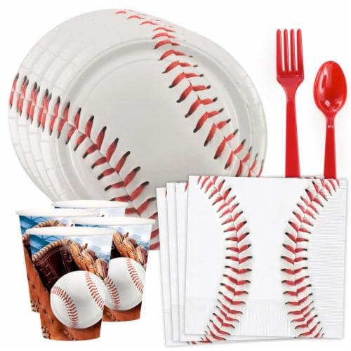 BuySeasons 308988 Baseball Party Standard Tableware Kit - 8 Serve Perspective: front