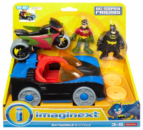 Fisher-Price® Imaginext DC Super Friends Batmobile and Cycle Perspective: front