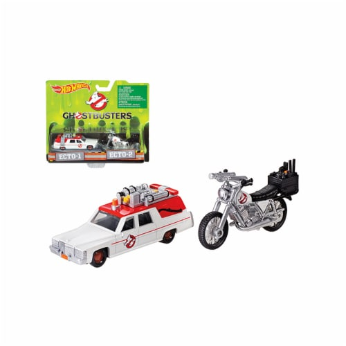 Mattel Hot Wheels® Ghostbusters 3 Diecast Scale Model Cadillac and Bike Perspective: front