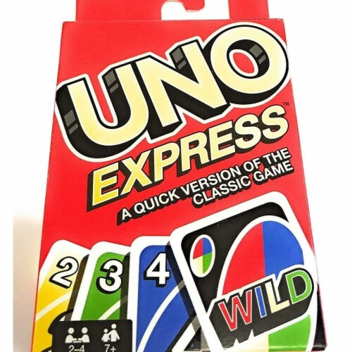 Mattel MTTFLK65 UNO Express Quick Version Family Friendly Fun Board Game Perspective: front