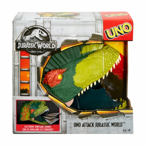 Mattel UNO Attack Jurassic World Card Game Perspective: front