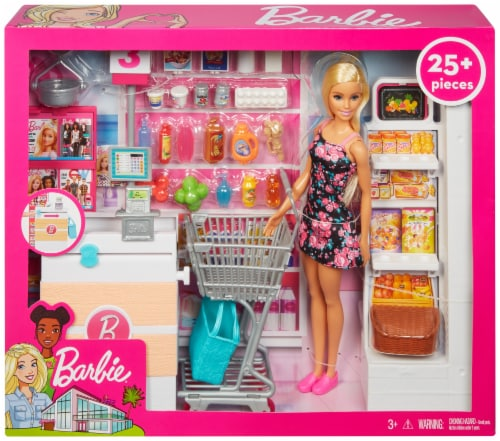 Mattel Barbie® Doll and Supermarket Play Set Perspective: front