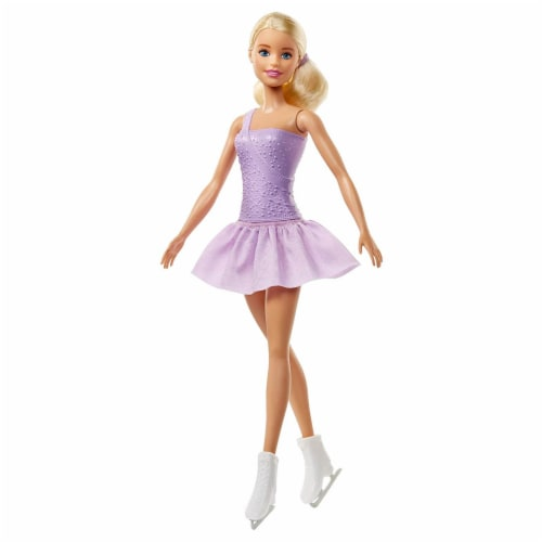 Barbie Figure Skater Doll Dressed in Purple Outfit Perspective: front