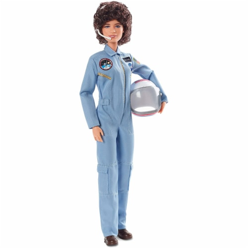 Barbie Inspiring Women Sally Ride Tribute Astronaut Doll with Full Flight Suit Perspective: front
