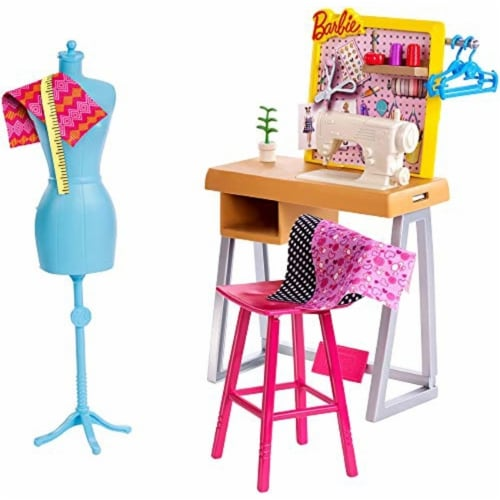 Barbie Fashion Design Studio Playset with Sewing Machine Station, Dress Form and Themed Toys Perspective: front