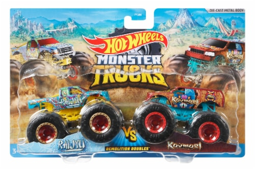Mattel Hot Wheels® Monster Trucks Demolition Doubles Racing vs Baja Buster Vehicle - Assorted Perspective: front