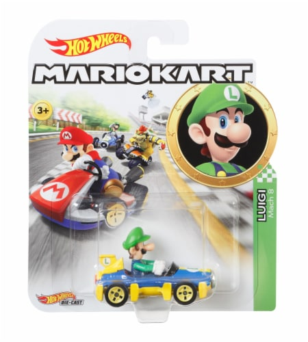 Mattel Hot Wheels Mario Kart Luigi, MACH 8 Vehicle - Multicolor Perspective: front