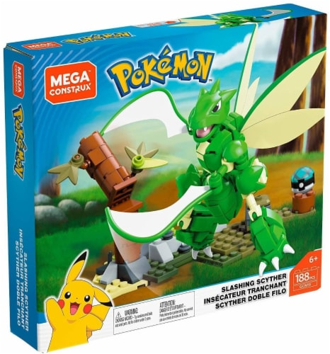 Pokemon Mega Construx 188 Piece Building Set | Slashing Scyther Perspective: front