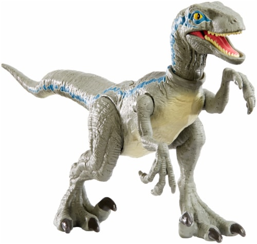 Mattel Jurassic World Savage Strike Velociraptor Blue Action Figure Perspective: front