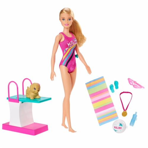 Mattel Barbie® Dreamhouse Adventures Swim 'n Dive Doll and Accessories Perspective: front