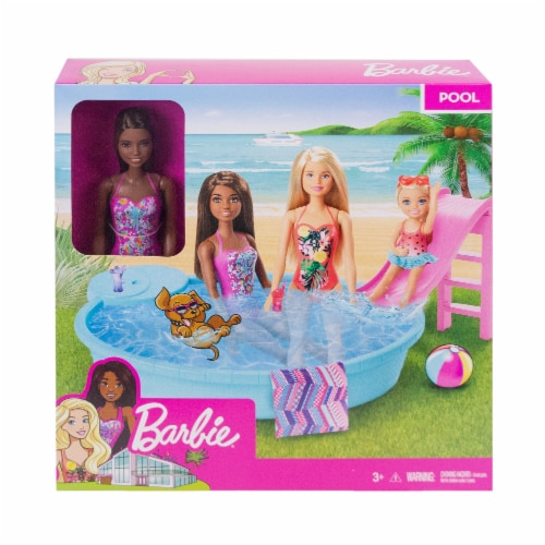Mattel Barbie® Doll and Pool Playset Perspective: front