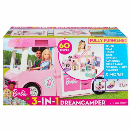 Mattel Barbie 3-in-1 DreamCamper Vehicle and Accessories Playset Perspective: front