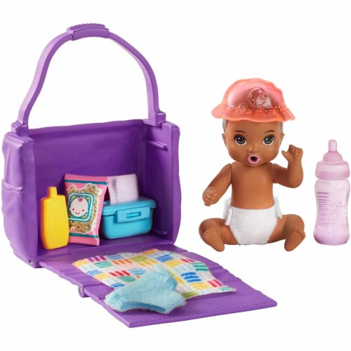 Barbie Skipper Babysitters Inc. Feeding and Changing Playset with Color-Change Baby Doll Perspective: front