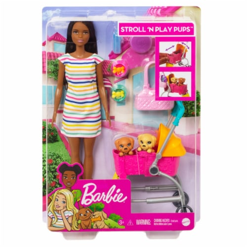 Mattel Barbie® Stroll n Play Pup Doll and Accessories Perspective: front