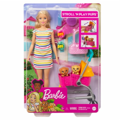 Mattel Barbie® Stroll n Play Pups Doll and Accessories Perspective: front
