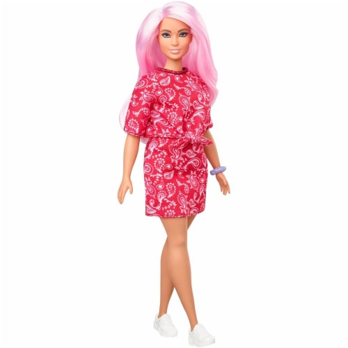 Barbie Fashionistas Doll with Long Pink Hair Wearing a Red Paisley Top & Skirt Perspective: front