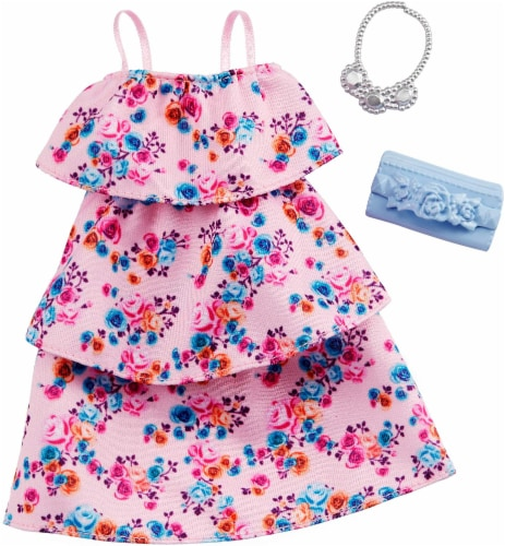 Barbie Clothes: Pink Floral Dress, Plus 2 Doll Accessories, Style D Perspective: front
