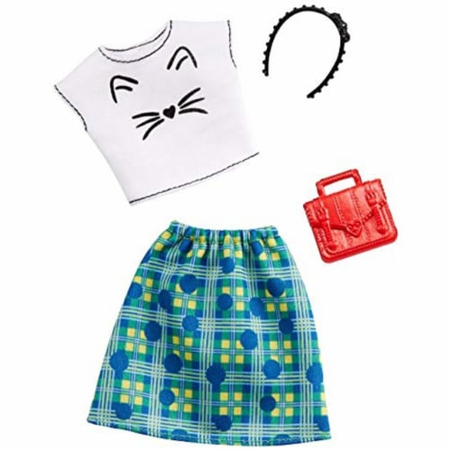 Barbie Tee Shirt Skirt & Doll Accessories - Kitten Whiskers & Green Plaid Perspective: front