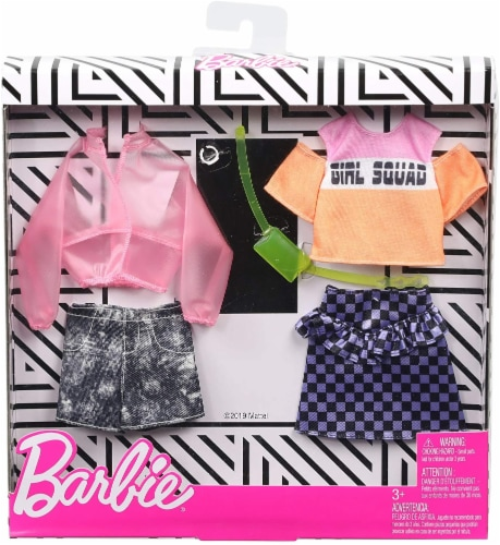Barbie Jacket Top Skirt Shorts & Doll Accessories Perspective: front