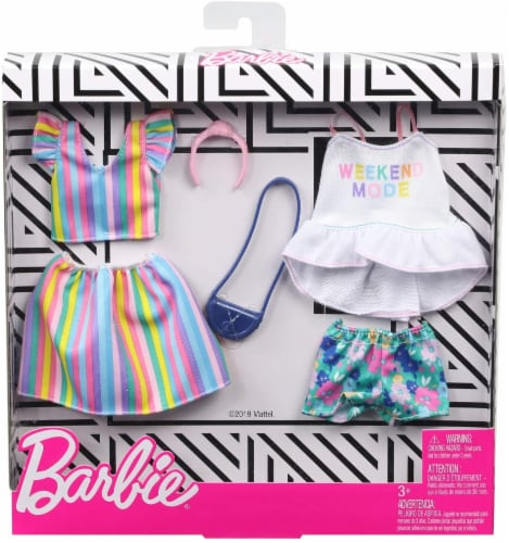 Barbie Tops Shorts Skirt and Doll Accessories - Floral & Pastel Perspective: front