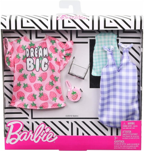 Barbie Dresses Top & Doll Accessories - Strawberry-Print & Gingham Check Perspective: front