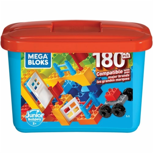 Advantus MBLGJD22 Mega Bloks Junior Builders Mini Bulk Tub - 180 Pieces Perspective: front