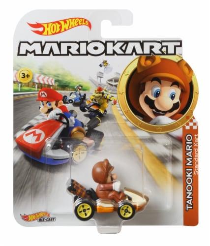 Mattel Hot Wheels® Mario Kart Tanooki Mario Standard Kart Toy Car Perspective: front