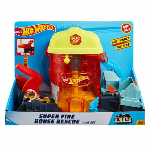 Mattel Hot Wheels® City Super Fire House Rescue Play Set Perspective: front