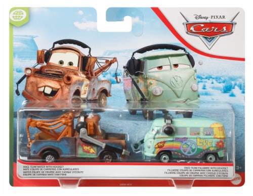 Mattel Disney Pixar Cars Race Team Mater & Fillmore Racing Toys With Headsets Perspective: front