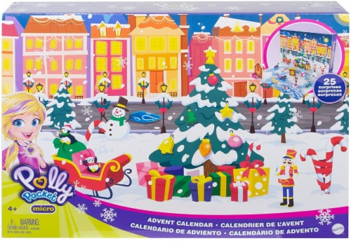 Polly Pocket Advent Calendar Featuring a Winter Wonderland Holiday Theme & 25 Surprises Perspective: front