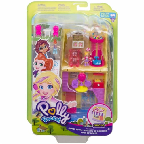 Pollyville Candy Store with 4 Floors, 2 Dolls and 5 Accessories Perspective: front
