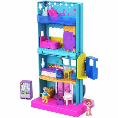 Polly Pocket Pollyville Hotel with 4 Floors of Fun, Micro Polly & Lila Dolls & Accessories Perspective: front