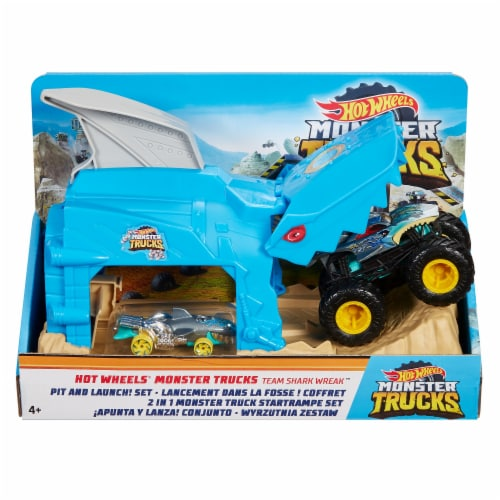 Mattel Hot Wheels® Monster Trucks Pit and Launch Shark Wreak Play Set Perspective: front