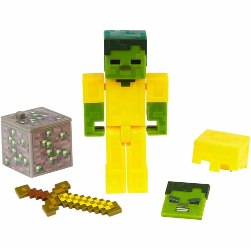 Minecraft Earth Zombie with Gold Armor Figure Perspective: front