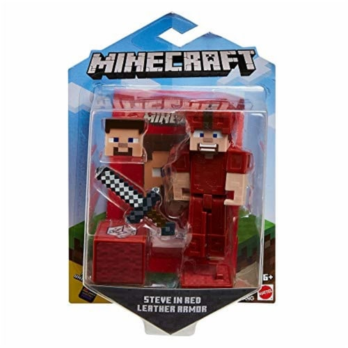 Minecraft Earth Steve in Red Leather Figure Perspective: front