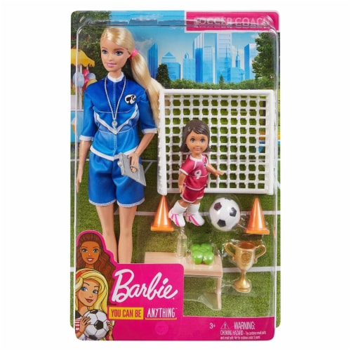 Barbie Soccer Coach Playset w/ Blonde Soccer Coach Doll, Student Doll & Accessories Perspective: front