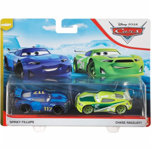 Disney Pixar Cars Spikey Fillups and Chase Racelott Toy Racers Perspective: front