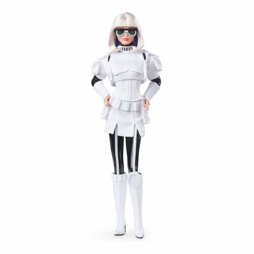 Star Wars x Barbie GLY29 Stormtrooper Collector Doll with Accessories and Stand Perspective: front