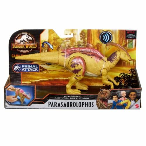 Mattel Jurassic World Parasaurolophus Sound Strike Dinosaur Toy Perspective: front