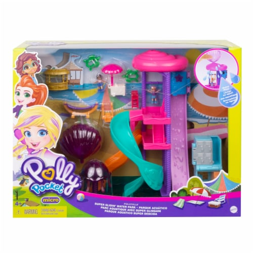 Mattel Polly Pocket Pollyville Super Slidin Water Park Playset Perspective: front