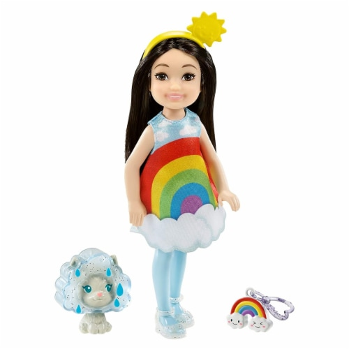 Barbie Chelsea Club With Rainbow Costume And Pet Doll Set Perspective: front