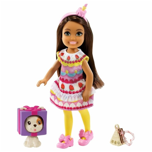 Barbie Chelsea Club With Cake Costume And Pet Doll Set Perspective: front