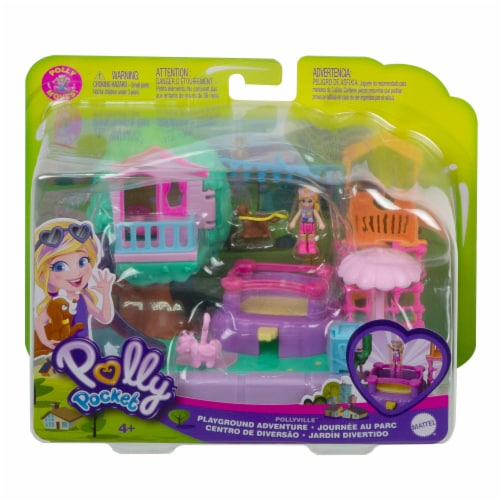 Mattel Polly Pocket Pollyville Playground Adventure Play Set Perspective: front