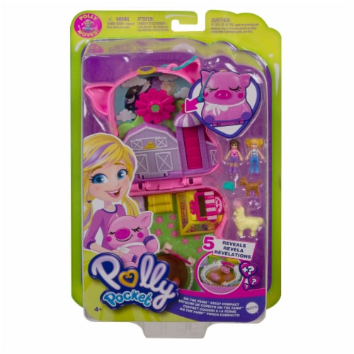 Polly Pocket On The Farm Piggy Compact, Farm Theme, Micro Polly Doll & Friend Doll Perspective: front