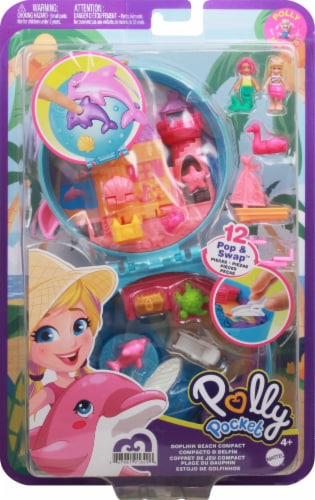 Polly Pocket Dolphin Beach Compact, Beach-Adventure Theme with Micro Polly & Mermaid Doll Perspective: front