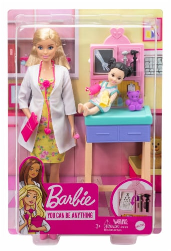 Barbie Pediatrician Playset, Blonde Doll, Exam Table, X-ray & Accessories Perspective: front