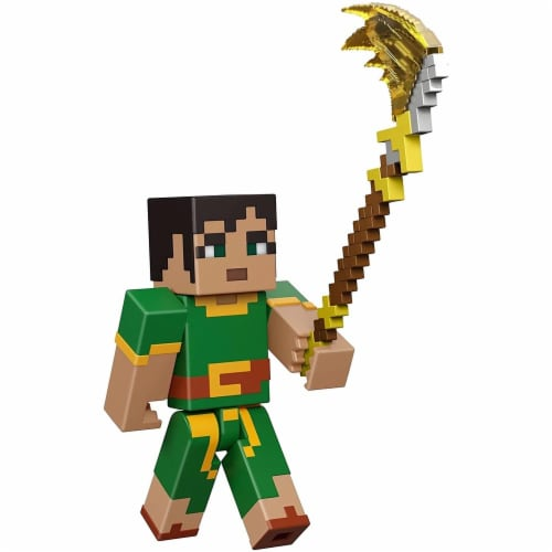Minecraft Dungeons 3.25-in Collectible Jade Battle Figure and Accessories Perspective: front