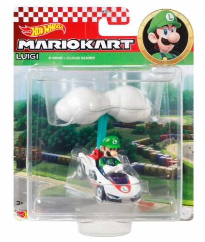 Mattel Hot Wheels® Mario Kart Luigi P-Wing + Cloud Glider Figure Perspective: front