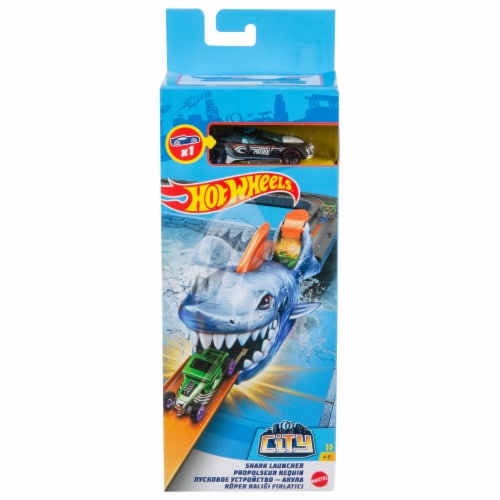 Mattel Hot Wheels Shark Launcher and Car Perspective: front
