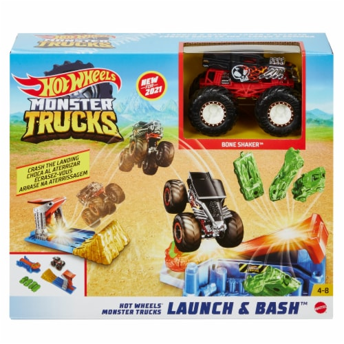 Mattel Hot Wheels® Monster Trucks Launch and Bash Playset Perspective: front